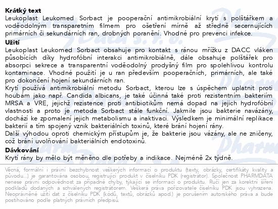 Informace o produktu Leukoplast Leukomed Sorbact antim.krytí 8x10cm 3ks