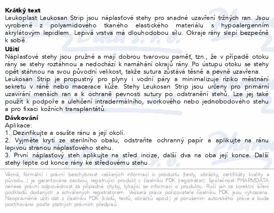 Informace o produktu Leukoplast Leukosan Strip náplast.stehy 2vel. 9ks