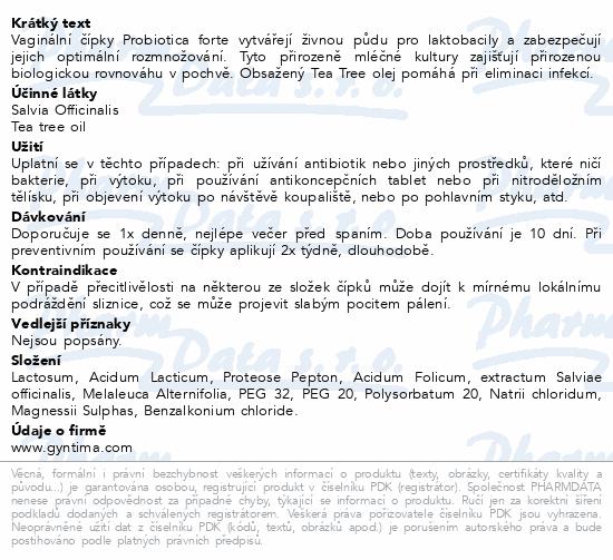 Informace o produktu Fytofontana Gyntima vagin.čípky Probio Forte 10 ks