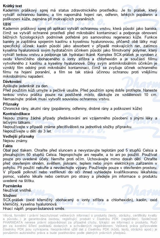 Informace o produktu KAdermin práškový sprej 50 ml