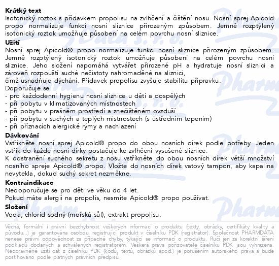 Informace o produktu Apicold Propo nosní sprej 30 ml