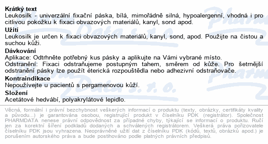 Informace o produktu Leukosilk fixační páska univerz./cívka 1.25cmx5m
