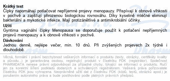 Informace o produktu Fytofontana Gyntima vaginál. čípky Menopausa 10ks