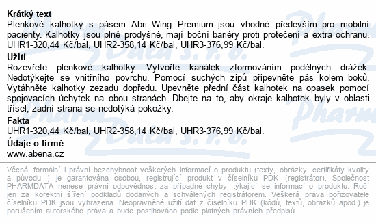 Informace o produktu Inkont.kalhotky s pásem Abri Wing Premium XL3 15ks