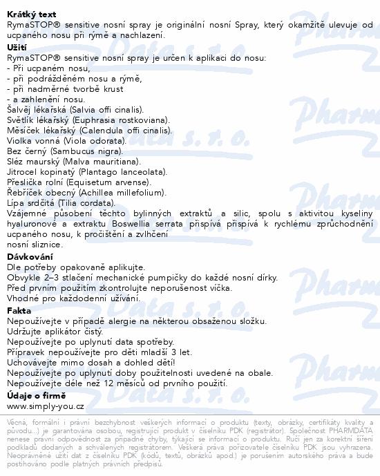 Informace o produktu RymaSTOP SENSITIVE Dr.Weiss-bylin.nosní spray 30ml