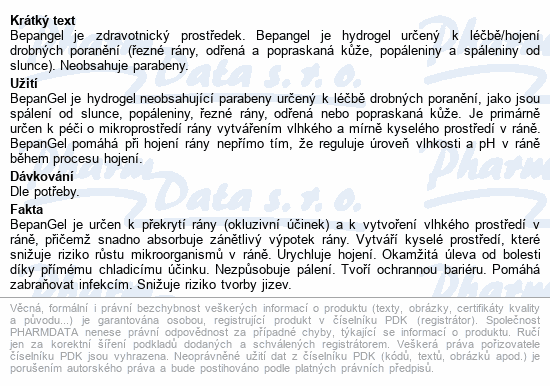 Informace o produktu BepanGel hojivý gel 50g