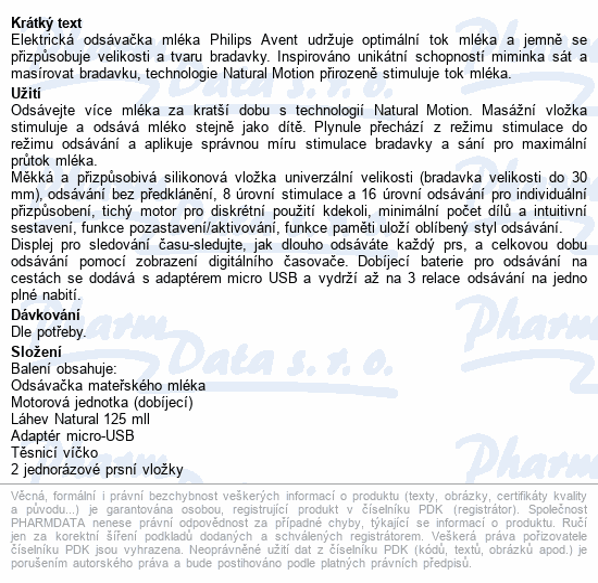 Informace o produktu AVENT Odsávačka mat.ml.Natural elektronic.Premium