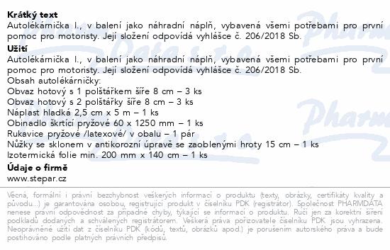 Informace o produktu Autolékárna I-náplň-vyhláška č. 206/2018 Sb.