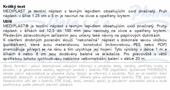 Informace o produktu Náplast Mediplast 1.25cmx5m tkaná 1111 cívková