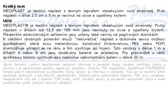 Informace o produktu Náplast Mediplast 2.5cmx5m tkaná 1121 cívková