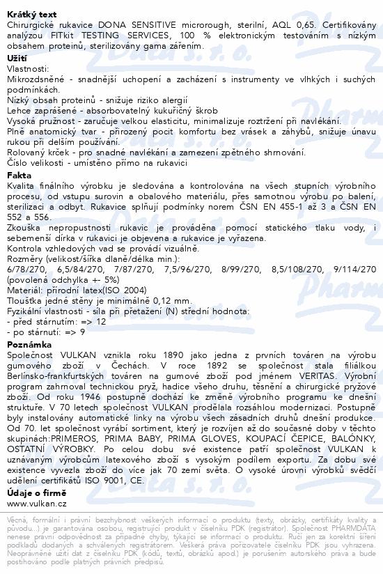 Informace o produktu Rukavice oper.prašné DONA Sensitive vel.6.5/pár