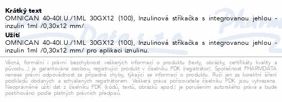 Informace o produktu Inj.střík.ins.1ml/30x12/U40 Omnican 100ks 9161627