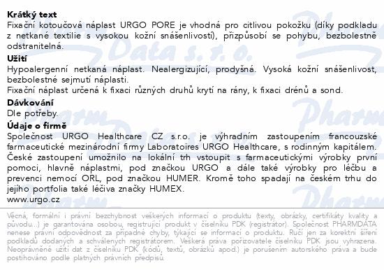 Informace o produktu URGO PORE Náplast netkaný textil 5mx1.25cm