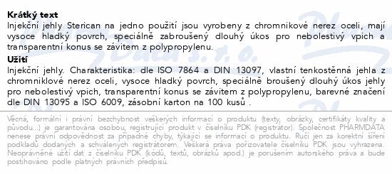 Informace o produktu Inj.jehla STERICAN 22G/0.7x30mm černá ster.100ks