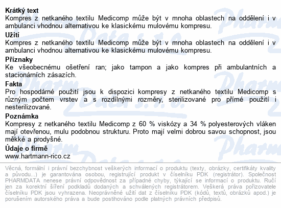 Informace o produktu Kompres Medicomp nester.7.5x7.5cm 100ks 4218233