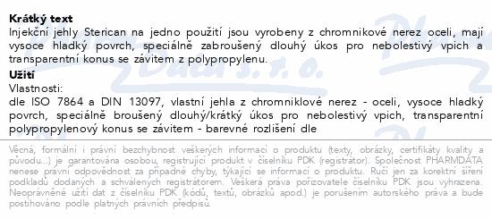 Informace o produktu Inj.jehla STERICAN 18G/1.2x40mm růžová ster.100ks