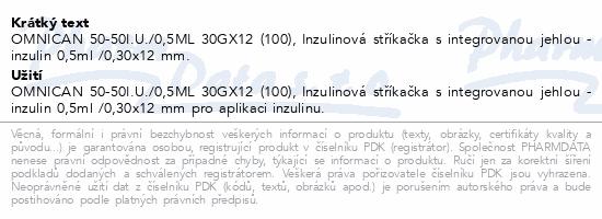 Informace o produktu Inj.střík.ins.0.5ml/50 IU OMNICAN 100ks 9151125