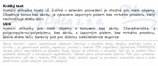 Informace o produktu Stříkačka INJEKT 2-dílná 20ml LE zelená ster.100ks