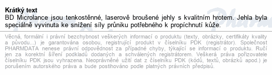 Informace o produktu BD Microlance Inj. jehla 23G 0.60x25 modrá 100ks