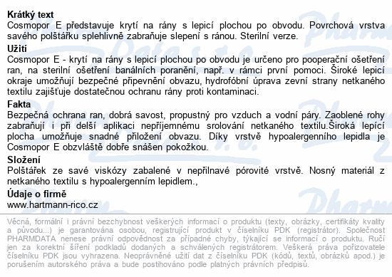 Informace o produktu Rychloobvaz COSMOPOR E ster.7.2x5cm/50ks 900870/6