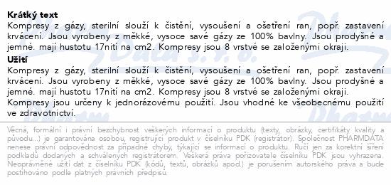 Informace o produktu Gáza kompr.nester.5x5cm/100ks 8vrstev