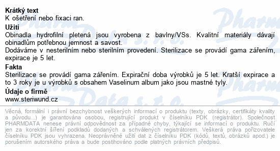 Informace o produktu Obin. hydrofil.pletené ster.8cmx5m/1ks Steriwund