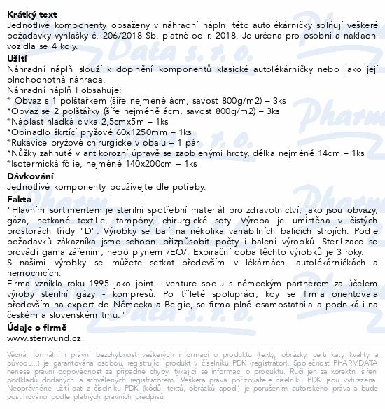 Informace o produktu Autolékárnička náplň I vyhl.č.206/2018 Steriwund