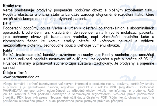 Informace o produktu Pás břišní Verba podpůrný vel.4/1ks 95-105cm