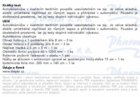 Informace o produktu Autolékárna I.-polštářek-vyhláška č. 206/2018 Sb.