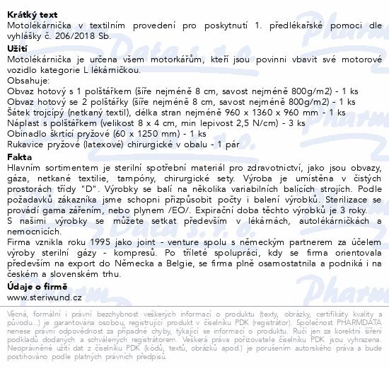 Informace o produktu Motolékárnička textil vyhl.č.341/2014 Steriwund