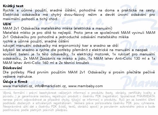 Informace o produktu MAM 2v1 Odsávačka mateřského mléka elektr.a manuál