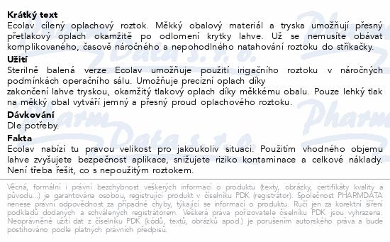 Informace o produktu Ecolav nacl 0.9% 500ml (sterilní obal-Estericlean)