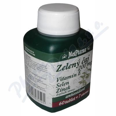 Zobrazit detail - MedPharma Zelený čaj 200mg vit. E+Se+Zn tbl. 67