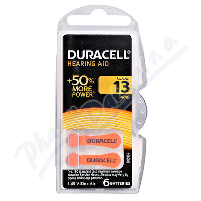 Zobrazit detail - Baterie do naslouch. Duracell DA13 Easy Tab 6ks