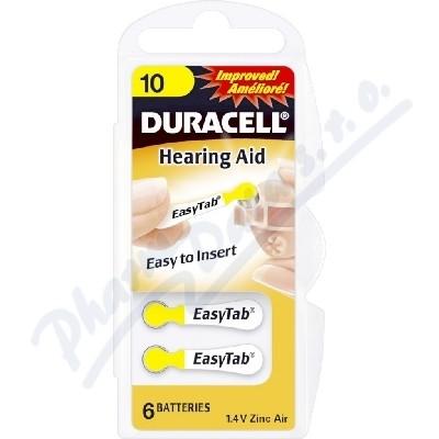Zobrazit detail - Baterie do naslouch. Duracell DA10 Easy Tab 6ks