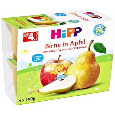 Zobrazit detail - HiPP 100% OVOCE BIO Jablka s hrušk.  4x100g