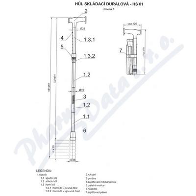 Zobrazit detail - Hůl skládací duralová HS 01 - černá