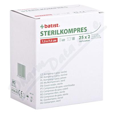 STERILKOMPRES Gázový kompres 7.5x7.5cm 25x2ks