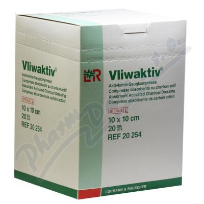 Komprese Vliwaktiv 10x10cm s aktiv.uhlím 20ks