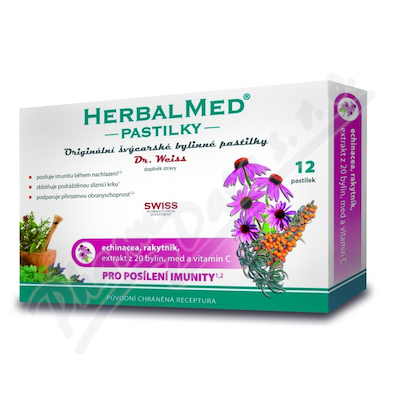 Zobrazit detail - HerbalMed past.  Dr. Weiss Echin+rakytník+vit. C 12