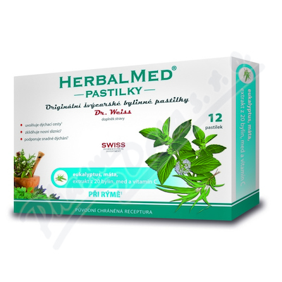 Zobrazit detail - HerbalMed past.  Dr. Weiss Eukalypt+máta+vit. C 12