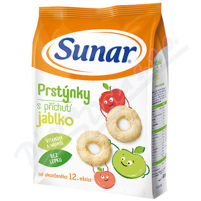 Zobrazit detail - Sunarka-Sun�rek d�tsk� snack jablkov� prst�nky 50g