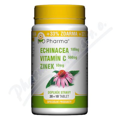 Zobrazit detail - Echinacea 100mg+VitamínC 500mg+Zinek10mg tbl. 30+10