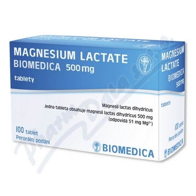 Zobrazit detail - Magnesium lactate Biomedic. 500mg tbl. nob. 100x500mg