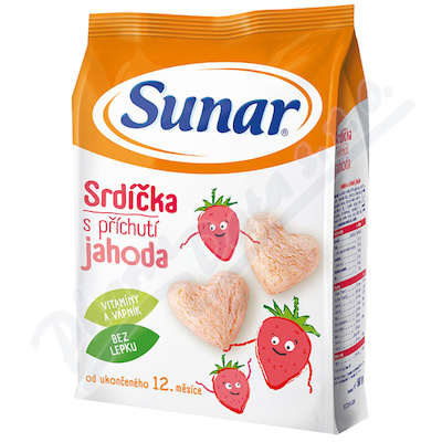 Zobrazit detail - Sunárek dětský snack jahodová srdíčka 50g