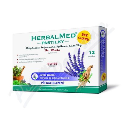 Zobrazit detail - HerbalMed past.  Dr. Weiss BEZ CUKRU Šalv+žen+C 12
