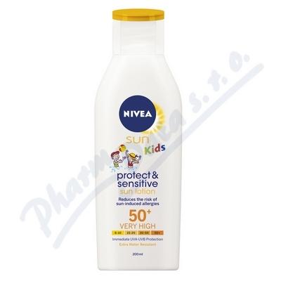 NIVEA SUN Dětské mléko opalov. Sensit. OF50+ 200ml