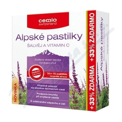 Zobrazit detail - Cemio Alpské pastilky ŠALVĚJ A VITAMIN C pst. 30+10