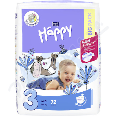 Zobrazit detail - Happy Midi dětské pleny 72ks
