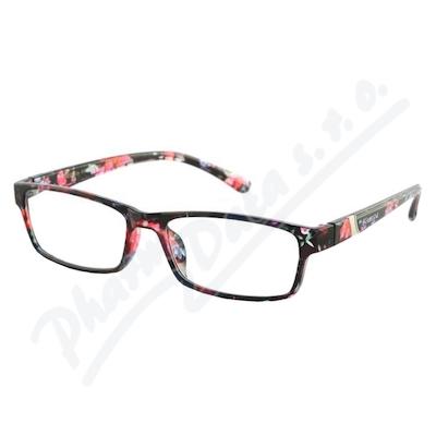 Brýle čtecí +1.50 černo-květinové